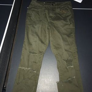 Aeropostale army green ripped jeans